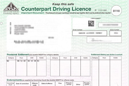 Driving Licence Paper Counterpart