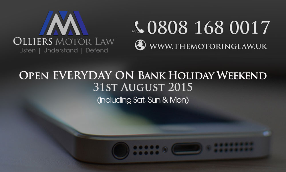 Our Motoring Law Solicitors able to talk to you this Bank Holiday